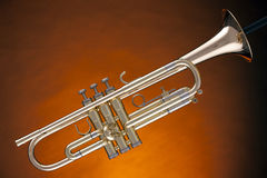 Trumpet Cornet Isolated On Yellow Stock Photography