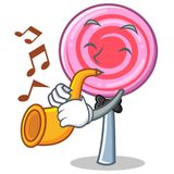 With trumpet cute lollipop character cartoon. Vector illustration Royalty Free Stock Photos