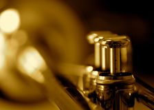Trumpet. Finger buttons on a brass trumpet Stock Photography
