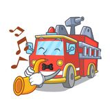 With trumpet fire truck mascot cartoon. Vector illustration Royalty Free Stock Photos