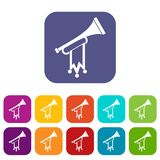 Trumpet with flag icons set. Vector illustration in flat style in colors red, blue, green, and other Stock Image