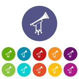 Trumpet with flag set icons Royalty Free Stock Photos