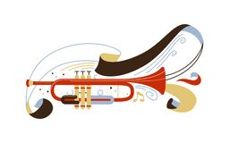 Trumpet flat vector illustration. Professional brass instrument isolated clipart. Classical music ensemble, jazz concert performance. Musician equipment with royalty free illustration