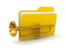 Trumpet with Folder  (clipping path included) Royalty Free Stock Images
