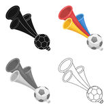 Trumpet football fan.Fans single icon in cartoon style vector symbol stock illustration. Stock Images