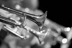Trumpet fragment in the orchestra closeup Stock Images