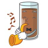 With trumpet fresh chocolate splash on pouring mascot. Vector illustration stock illustration