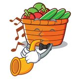 With trumpet fruit basket character cartoon. Vector illustration Royalty Free Stock Photography