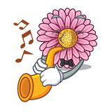 With trumpet gerbera flower isolated in the cartoon. Vector illustration stock illustration