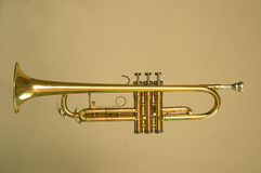 Trumpet gold. Trumpet in golden tone background Stock Photos