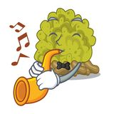 With trumpet green coral reef isolated with cartoon. Vector illustration stock illustration