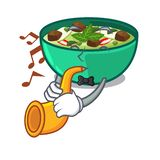 With trumpet green curry in the character shape. Vector illustration vector illustration