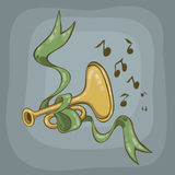 Trumpet. And green ribbon on a gray background vector illustration