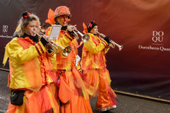 Trumpet group of marching band at Carnival parade, Stuttgart Stock Photos