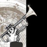 Trumpet on grunge background Stock Photography