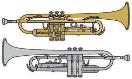 Trumpet. Hand drawing of two trumpets Royalty Free Stock Photos