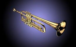 Trumpet. Image is posed on dark background Stock Image