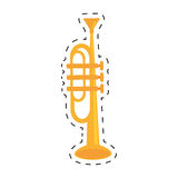 trumpet instrument music wind dotted line Royalty Free Stock Image