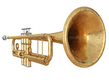 Trumpet isolated on white 3D rendering Stock Photos