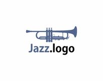 Trumpet jazz logo. A logo that has an image of a trumpet used in jazz and other music genres Royalty Free Stock Image