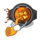 With trumpet kimchi tighe in the cartoon shape. Vector illustration stock illustration