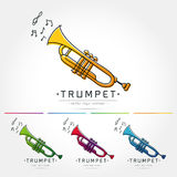 Trumpet logo vector. Modern linear thin flat design. The stylized image of trumpet. classical music festival logo Template for covers,logo, posters, invitations royalty free illustration