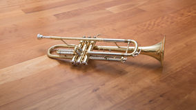 Trumpet lying on wooden background Stock Image