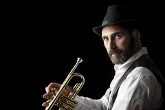 Free Trumpet Man With Beard Portrait On Black Royalty Free Stock Images - 162970499