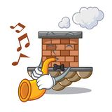 With trumpet miniature cartoon brick chimney above table. Vector illustration vector illustration