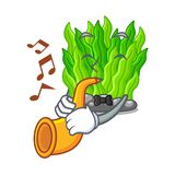 With trumpet miniature green seaweed above mascot table. Vector illustration royalty free illustration