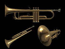 Trumpet music. 3d. old brass trumpet - cornet - render on a black background Royalty Free Stock Photos