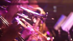 Trumpet music concert band. Trumpet jazz player in concert instrumental stock video