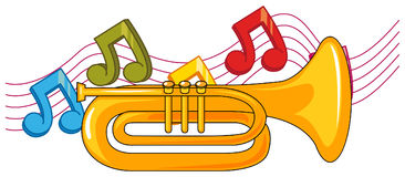 Trumpet and music notes in background stock illustration