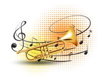 Trumpet with music notes in background royalty free illustration