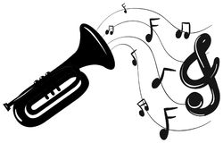 Trumpet and music notes in background vector illustration