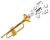 Trumpet with music notes (clipping path included) Royalty Free Stock Photography