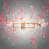 Trumpet and music notes Royalty Free Stock Image