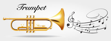 Trumpet and music notes Royalty Free Stock Photography