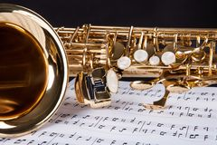 Trumpet and musical note. Close-up Of The Trumpet And Musical Note Royalty Free Stock Photos