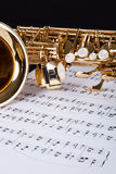 Trumpet And Musical Note. Close-up Of The Trumpet And Musical Note Royalty Free Stock Photo