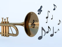 Trumpet and musical notes Royalty Free Stock Photography