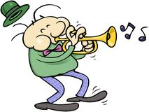 Trumpet musician. A happy musician with tie and green hat, playing a trumpet while tapping the pace with his foot stock illustration