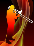 Trumpet Musician on Abstract Flame Background Stock Photography