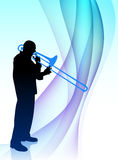 Trumpet Musician on Abstract Flowing Background Royalty Free Stock Images