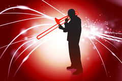 Trumpet Musician on Abstract Light Background Stock Image