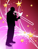 Trumpet Musician on Abstract Light Background with Stars Stock Photo