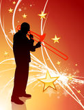 Trumpet Musician on Abstract Light Background with Stars Stock Photography