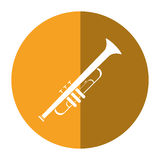 Trumpet musician instrument icon shadow Royalty Free Stock Photo