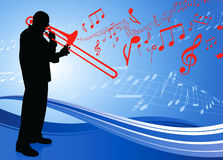 Trumpet Musician on Musical Note Background Royalty Free Stock Image