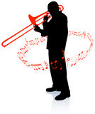 Trumpet Musician with Musical Notes Stock Photography